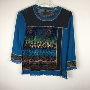 Tribal burnout velvet floral top with mesh inserts
